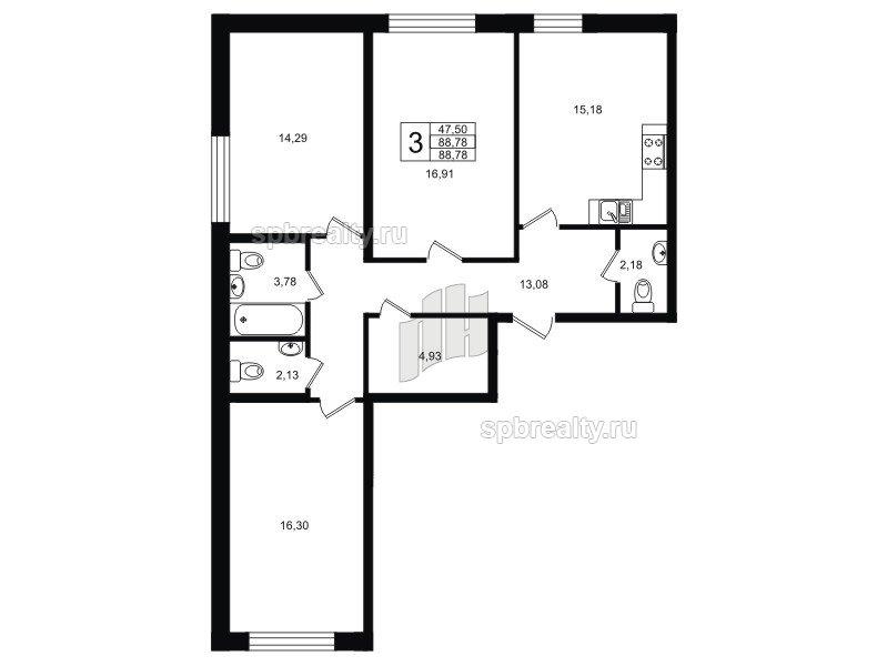 Планировка Трёхкомнатная квартира площадью 88.78 кв.м в ЖК «Гольфстрим»