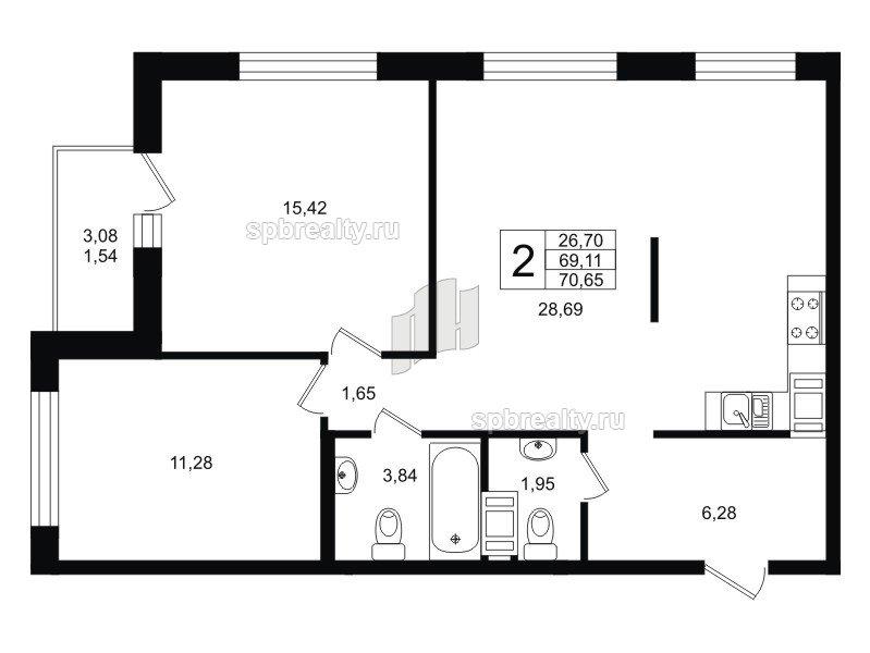 Планировка Двухкомнатная квартира площадью 70.65 кв.м в ЖК «Гольфстрим»