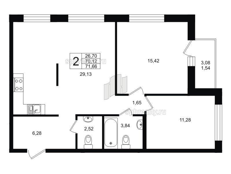 Планировка Двухкомнатная квартира площадью 71.66 кв.м в ЖК «Гольфстрим»