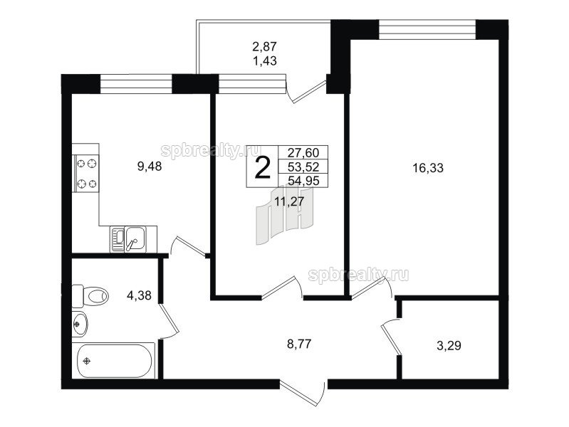Планировка Двухкомнатная квартира площадью 54.95 кв.м в ЖК «Гольфстрим»