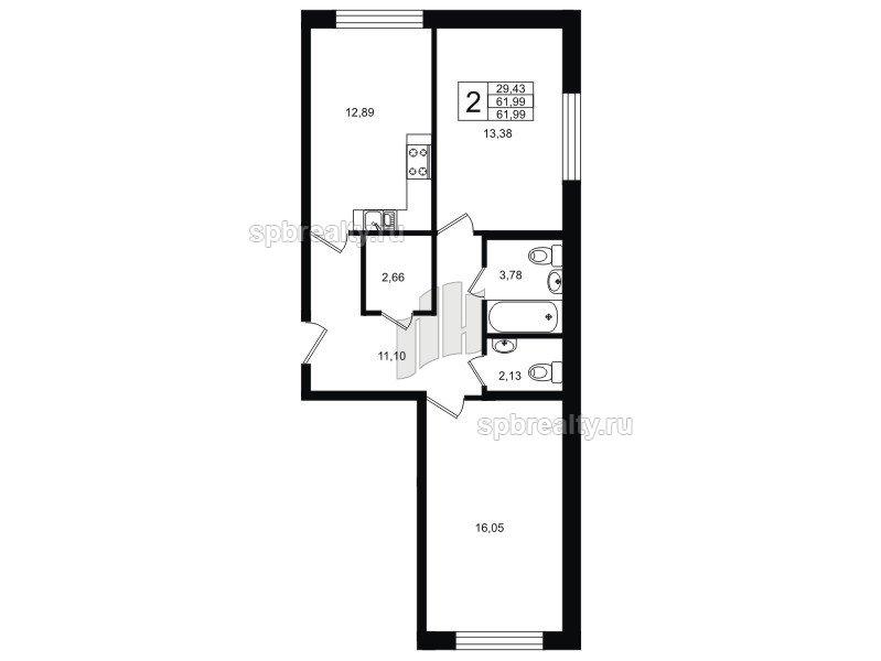 Планировка Двухкомнатная квартира площадью 61.99 кв.м в ЖК «Гольфстрим»