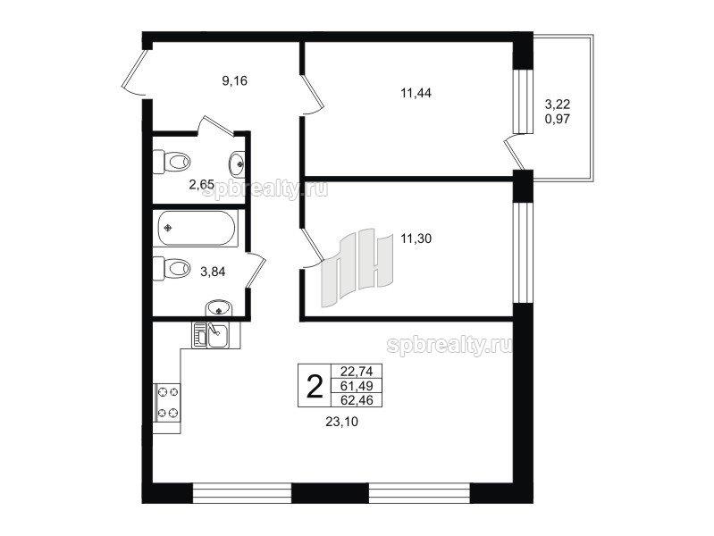 Планировка Двухкомнатная квартира площадью 62.46 кв.м в ЖК «Гольфстрим»