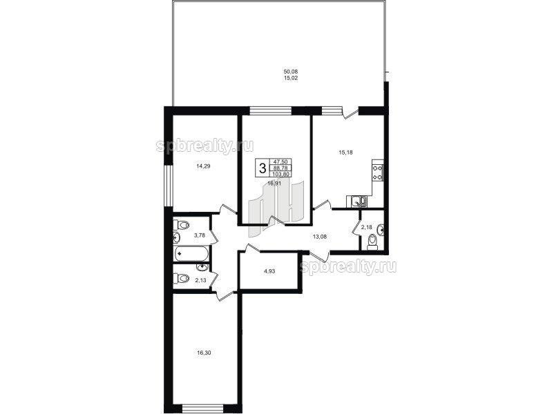 Планировка Трёхкомнатная квартира площадью 103.8 кв.м в ЖК «Гольфстрим»