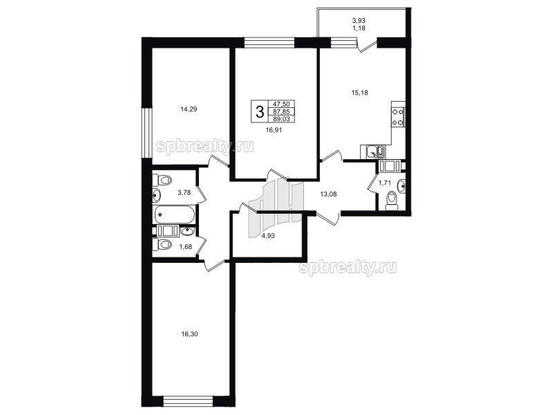Планировка Трёхкомнатная квартира площадью 89.03 кв.м в ЖК «Гольфстрим»
