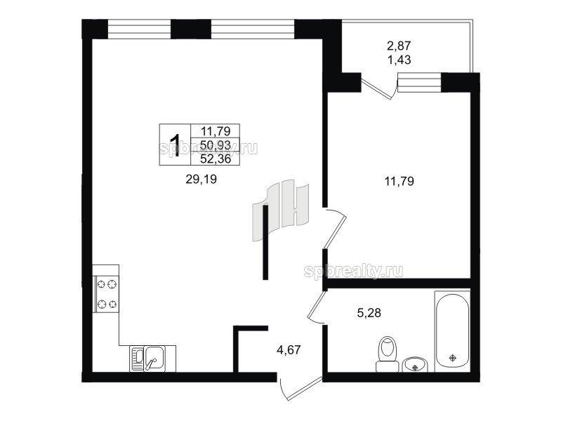 Планировка Однокомнатная квартира площадью 52.36 кв.м в ЖК «Гольфстрим»